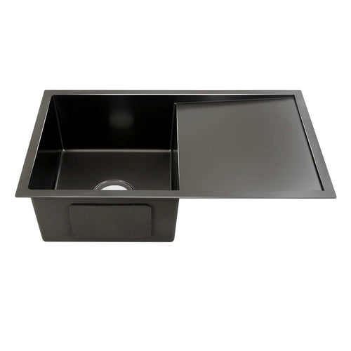 Cefito Kitchen Sink Nano Stainless Steel Single Bowl Black Laundry 750x450mm