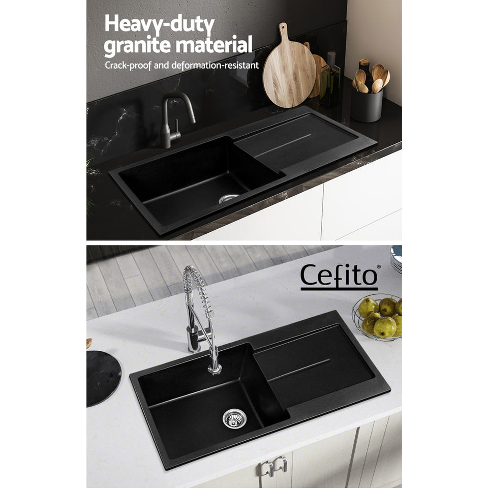 Cefito Kitchen Sink Granite Stone Laudry Single Bowl Top or Undermount 1000x500mm
