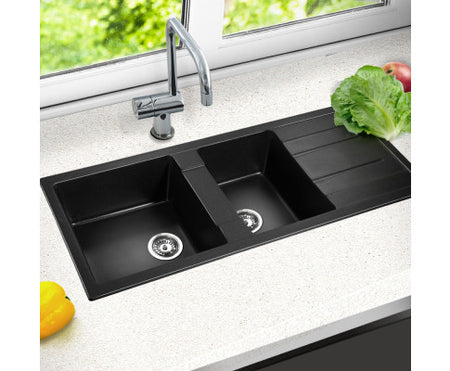 Cefito 1160 x 500mm Granite Stone Double Sink - Black