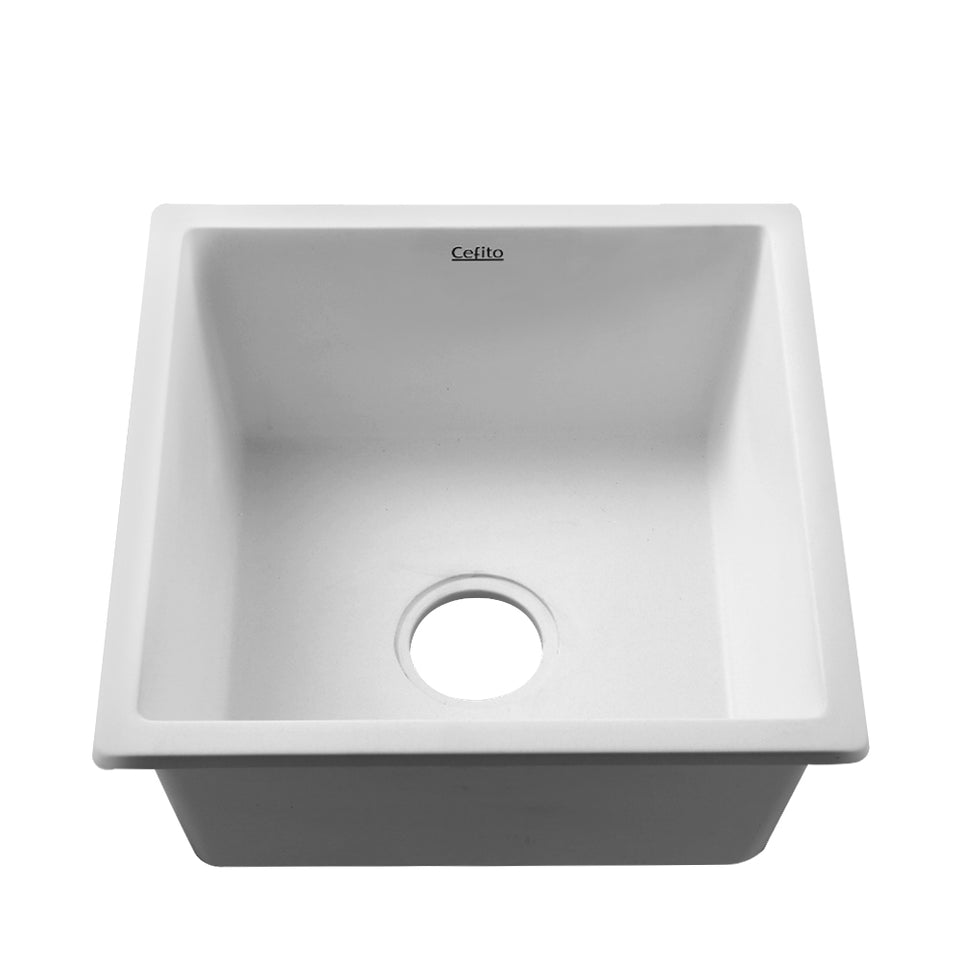 Cefito Kitchen Sink Granite Stone Laundry Top or Undermount Single White 450x450mm