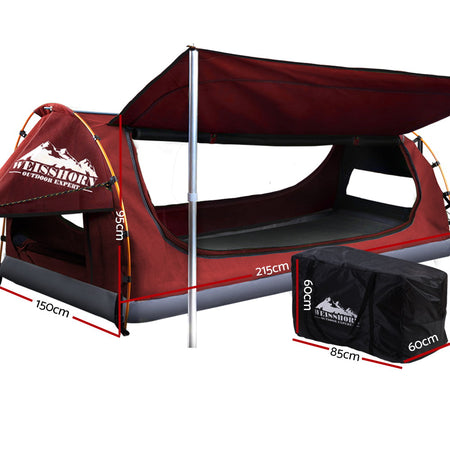 Weisshorn Double Swag Camping Swags Canvas Free Standing Dome Tent Red with 7CM Mattress