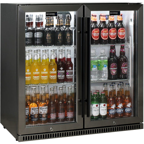 Schmick Black Stainless Steel Bar Fridge Tropical Rated 2 Door With Heated Glass and Triple Glazing Model SK190-BS