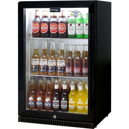 Schmick Black Bar Fridge Tropical Rated With Heated Glass and Triple Glazing 1 Door Model SK118L-B