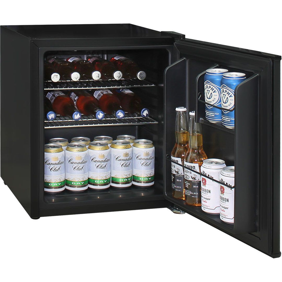 Retro Black Small Vintage Mini Bar Fridge 46 Litre Schmick Brand With Opener MODEL: HUS-BC46B-RET