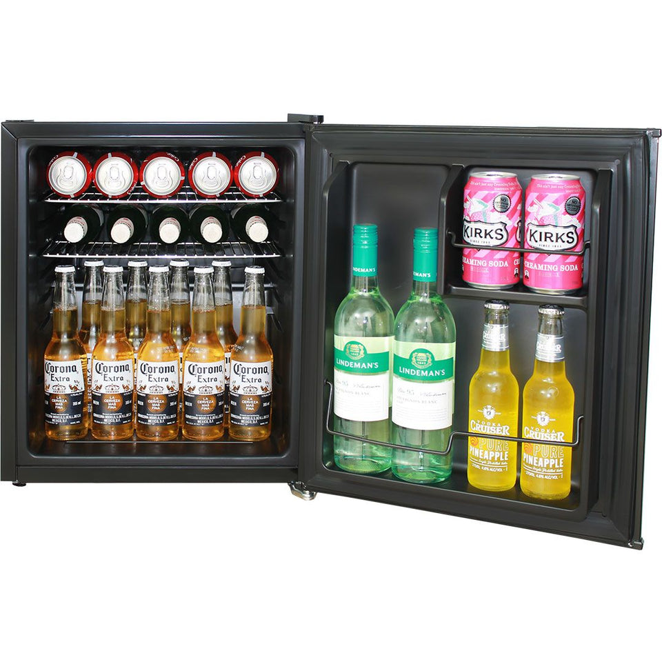 Retro Power Up Cube Style Mini Fridge 46 Litre With Retro Handle And Opener MODEL: HUS-BC46B-PU