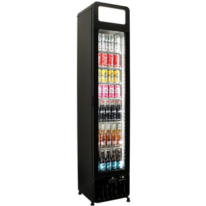 Schmick Flat Glass Door Skinny Tall Upright Display Bar Fridge - 135 Litre MODEL: SK135-X
