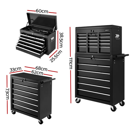 Giantz 15 Drawers Tool Box Chest Trolley Cabinet Garage Storage Boxes Organizer Black