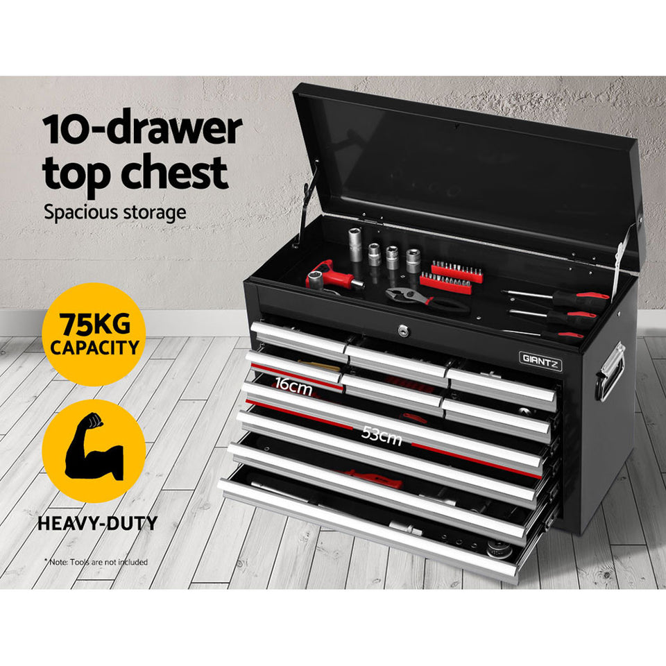Giantz 17 Drawers Tool Box Trolley Chest Cabinet Cart Garage Mechanic Toolbox Black and Grey