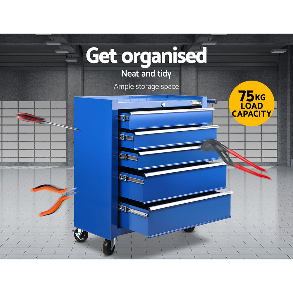Giantz 5 Drawer Mechanic Tool Box Storage Trolley - Blue