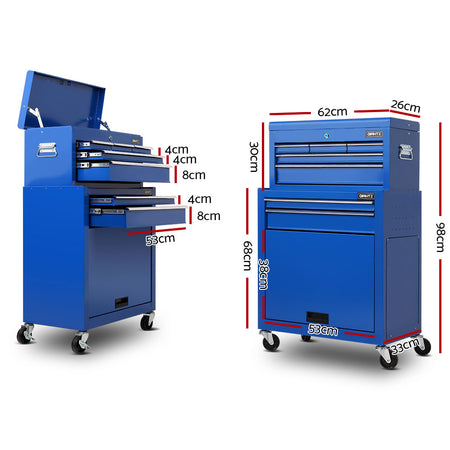 Giantz 7 Drawer Tool Box Cabinet Chest Storage Garage Toolbox Organiser Set Blue