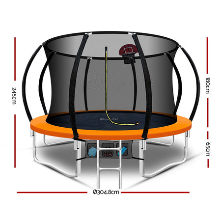 Everfit 10FT Trampoline Round Trampolines Kids Enclosure Safety Net Pad Outdoor Orange