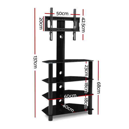 Artiss TV Mount Stand Swivel Bracket 3 Tier Floor Shelf 32 to 50 inch Universal