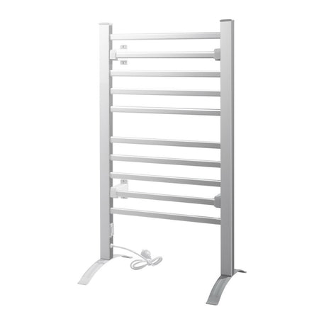 Devanti Heated Towel Rail Rack Bathroom Aluminum Electric Rails Warmer Clothes 10 Rungs
