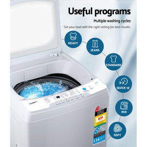 Devanti 10kg Top Load Washing Machine Quick Wash 24h Delay Start Automatic