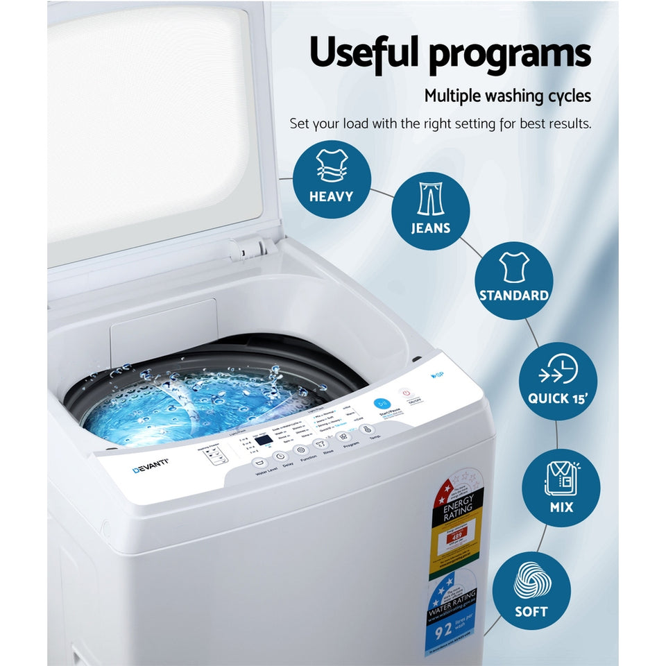 Devanti 7kg Top Load Washing Machine Quick Wash 24h Delay Start Automatic