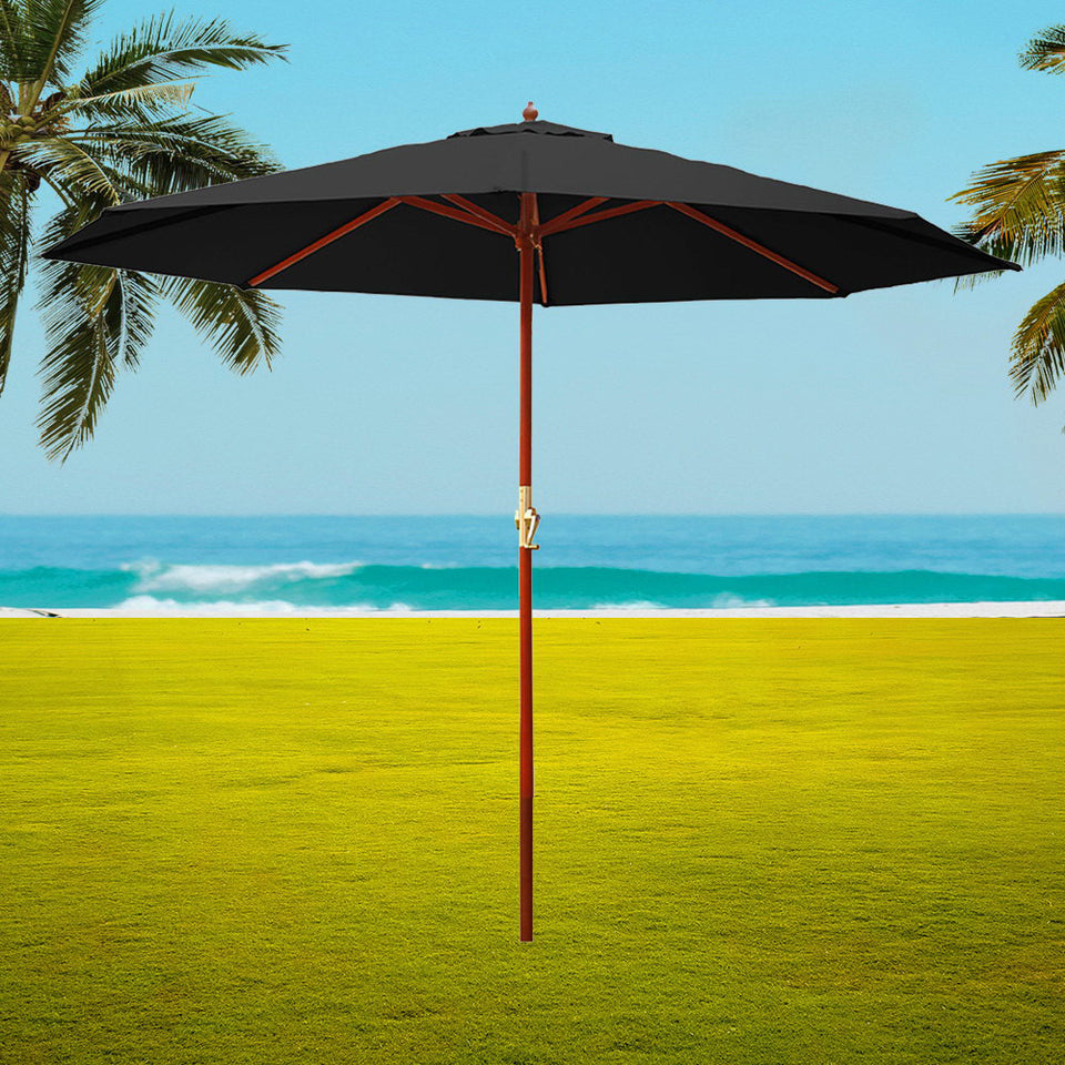 Instahut 3M Outdoor Pole Umbrella Cantilever Stand Garden Umbrellas Patio Black