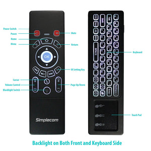 Simplecom RT250 Rechargeable 2.4GHz Wireless Remote Air Mouse Keyboard with Touch Pad and Backlight