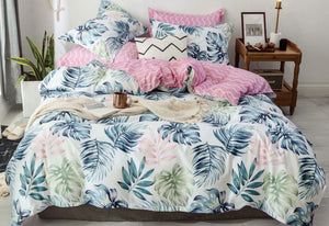 King Size 3pcs Palm Leaf Quilt Cover Set