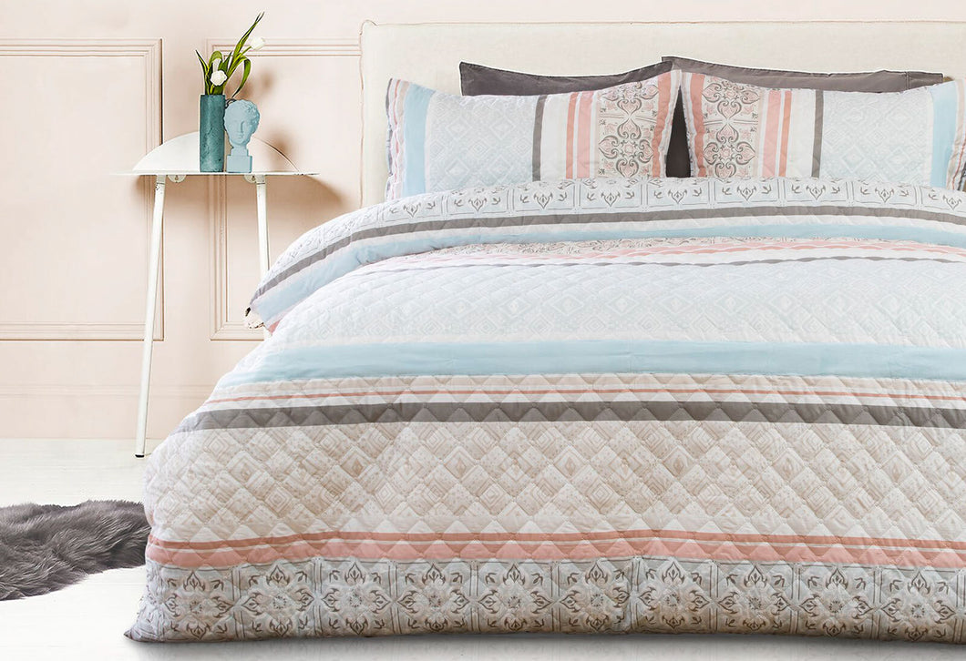 Queen Size 3pcs Paros Velvet Panel Embossed Quilt Cover Set