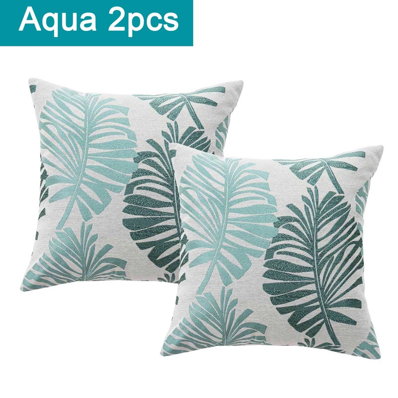 Cotton Linen Tropical Palm Cushion Covers 2pcs Pack