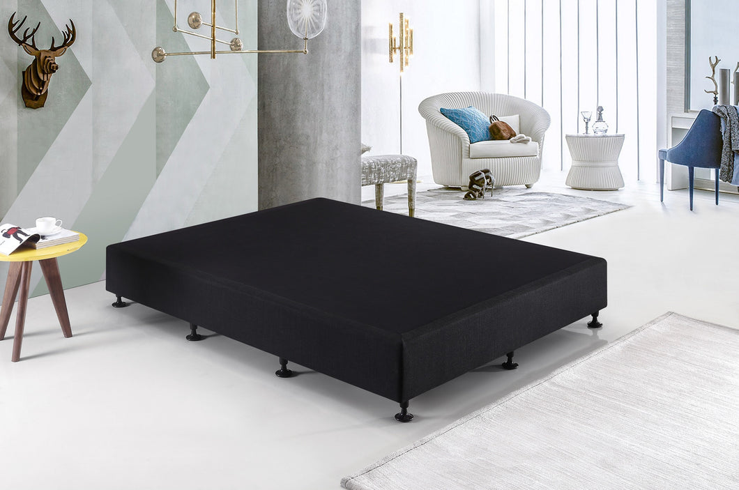 Palermo King Single Ensemble Bed Base Midnight Black Linen Fabric