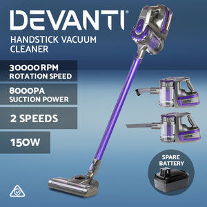 Devanti Handheld Vacuum Cleaner Cordless Stick Handstick Vac 2-Speed 150W with Spare Battery Purple