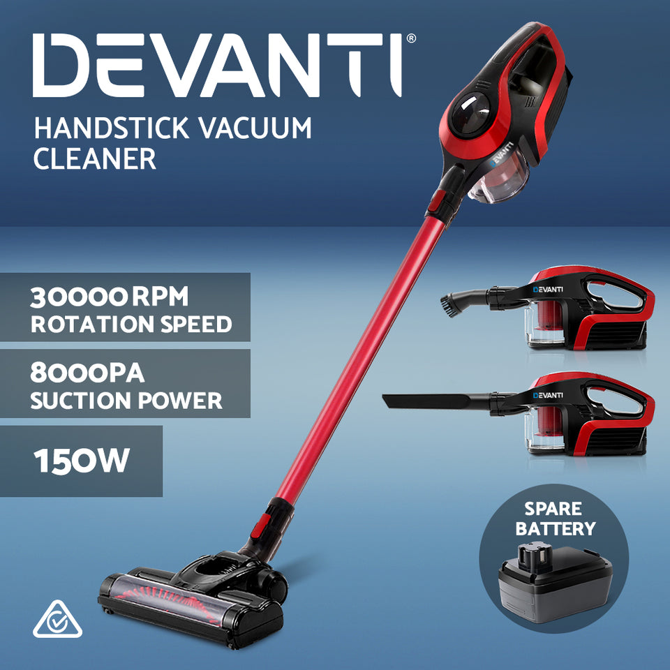 Devanti Handheld Vacuum Cleaner Cordless Stick Handstick Bagless Vac Spare Battery 150W Red