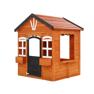 Kids Cubby House Wooden Outdoor Playhouse Timber Childrens Pretend Play