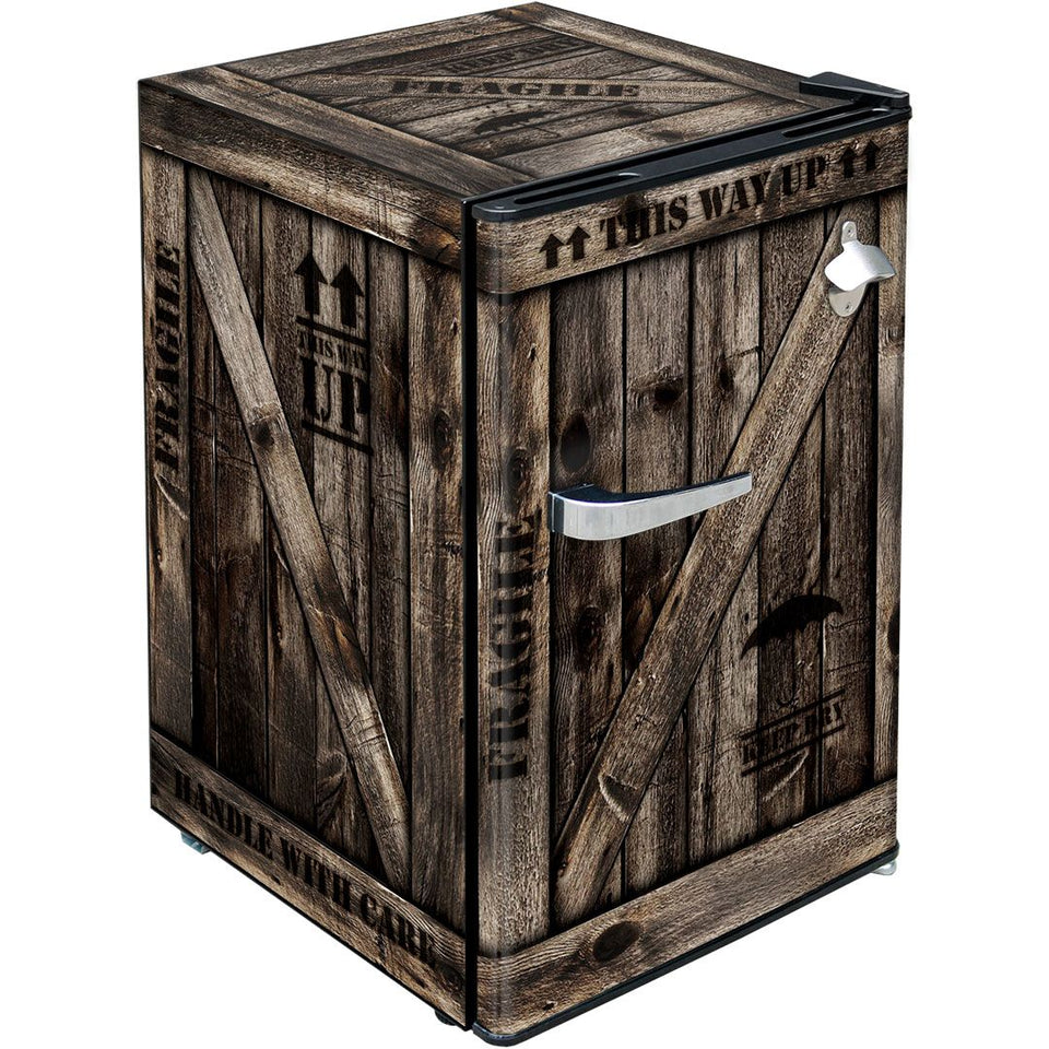 WOODEN CRATE Design Retro Mini Bar Fridge 70 Litre Schmick Brand With Opener MODEL: HUS-BC70B-WC
