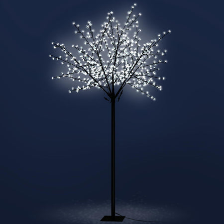 Jingle Jollys 2.5M LED Christmas Blossom Tree 600 LED Optic Fiber Cold White