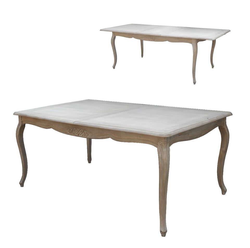 Wash White Louis XV Extension Table