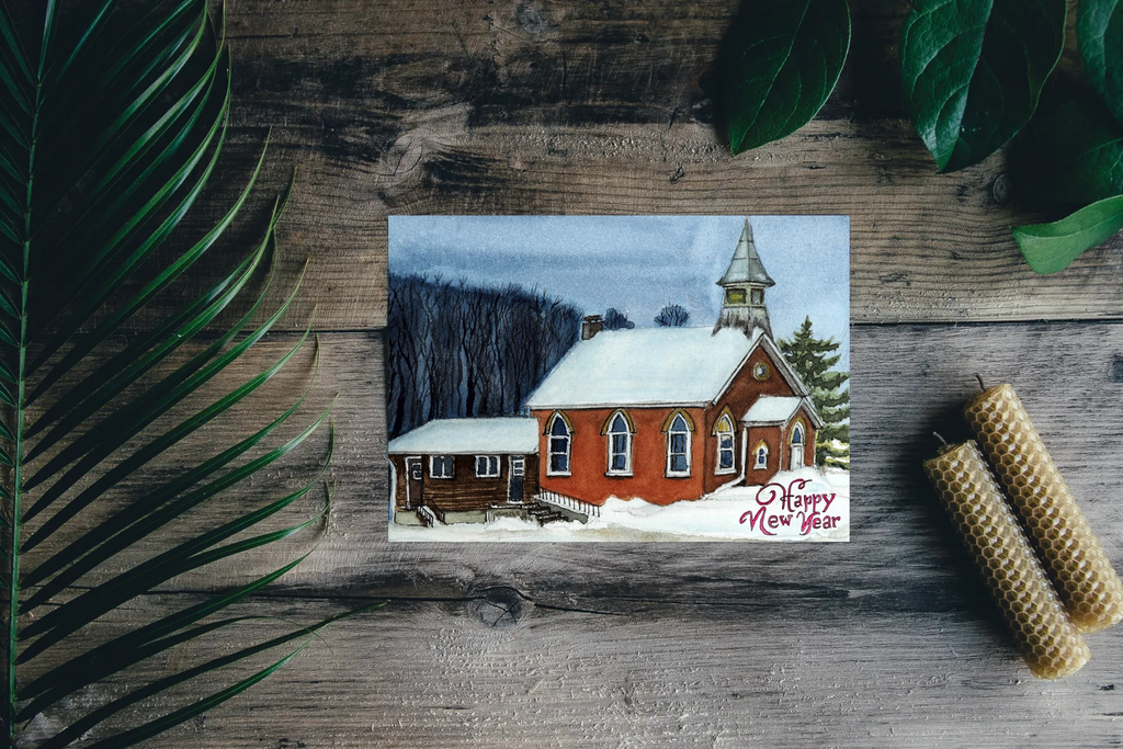 Church in Snow Christmas Card