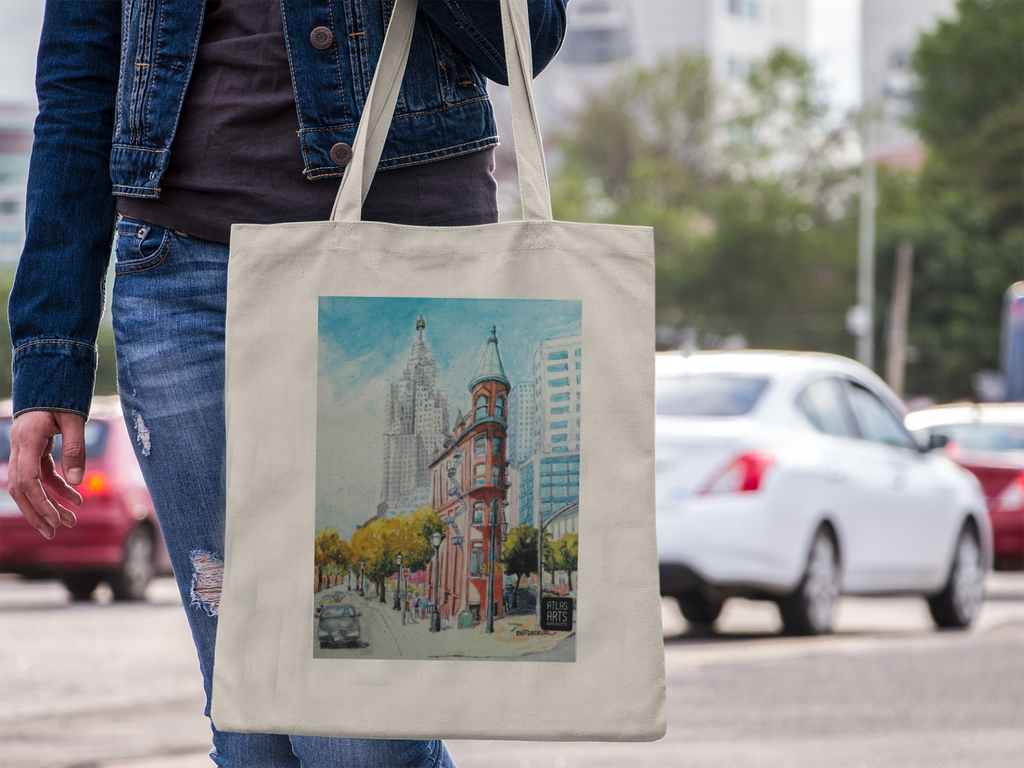Tote bag decorated with Flatiron Building Toronto by Atlas Arts