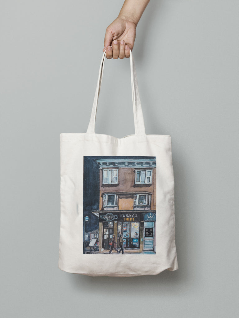 Bloor Street West Store Fronts Toronto print of an original watercolour on a Canvas Tote bag
