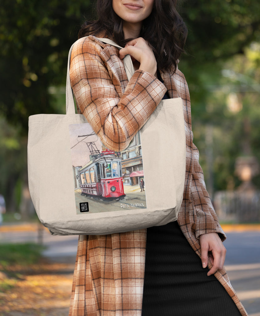 Tote Bag/Beach Bag/Shopping Bag decorated with Beyoglu Streetcar Istanbul