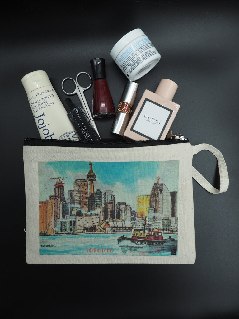 Cosmetic bag, decorated with Toronto Skyline illustration by Atlas Arts