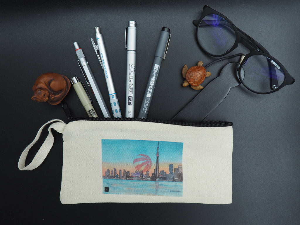 Pencil Case/Pencil Pouch decorated with Toronto Raptors Crowning Toronto Skyline