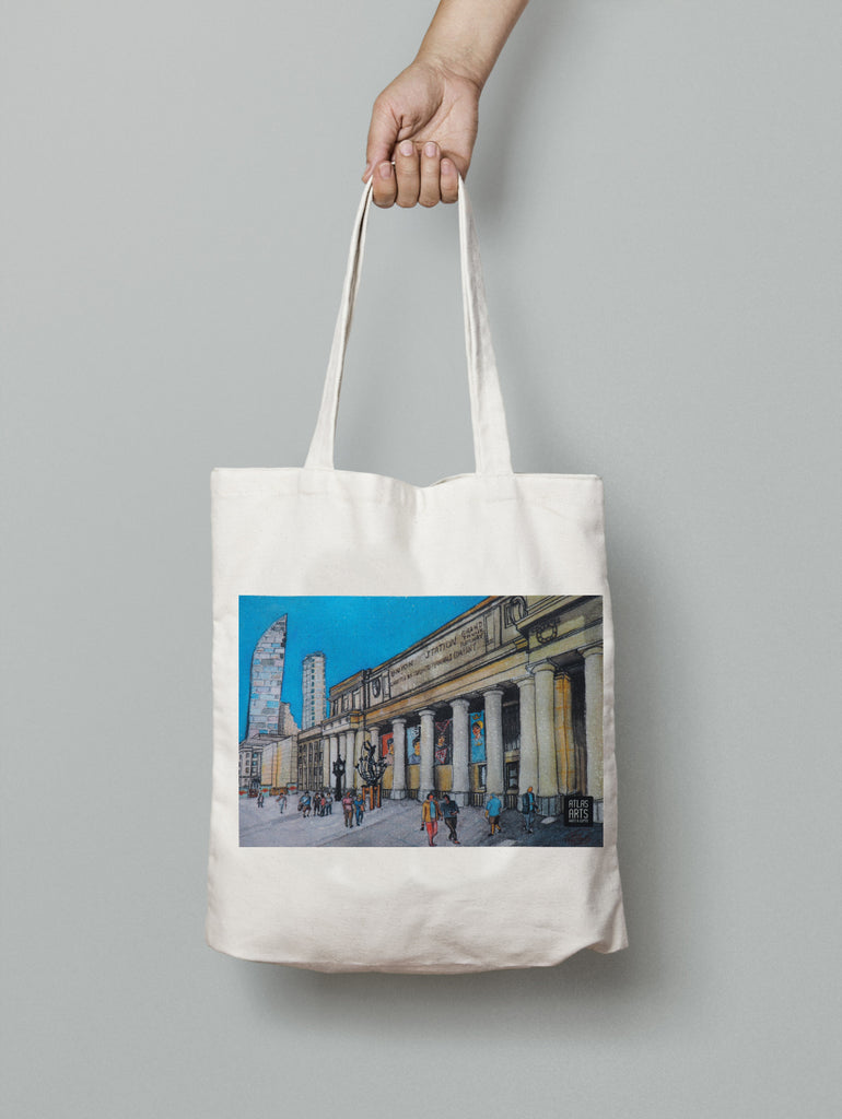 Union Station Toronto print of an original watercolour on a Canvas Tote bag