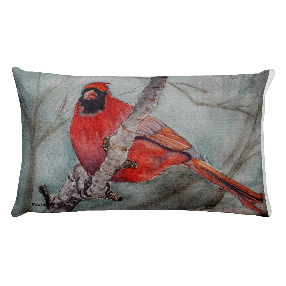 Birds of Toronto Pillow : Cardinal & Chikadee