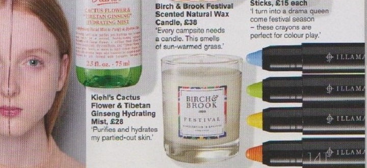 Marie Claire PR ooverage for Festival candle