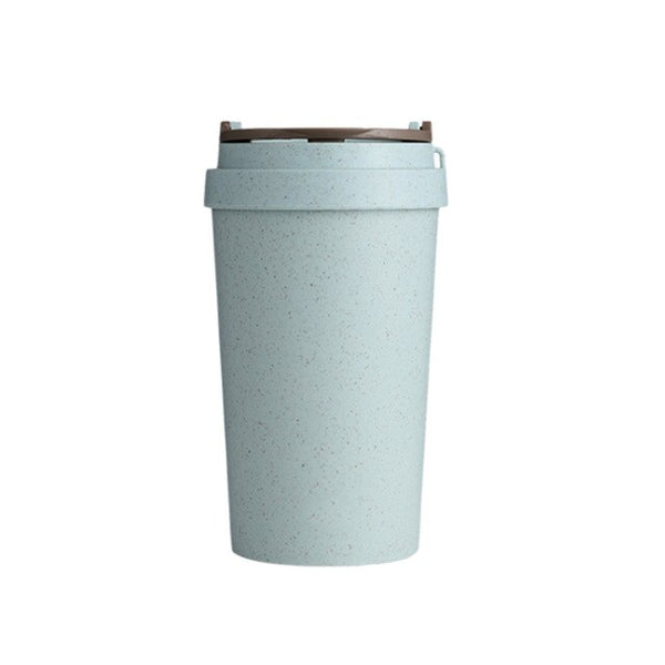 400ML Hot Beverage Heat Preservation With Lid Leak Proof Fashion Coffee Mug Wheat Straw Thermal Insulated Double Wall Bar