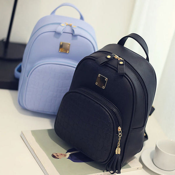 Backpack Girls backpack Solid backpacks female Zipper Women Fashion Stone Pattern Travel PU Satchel School Bags