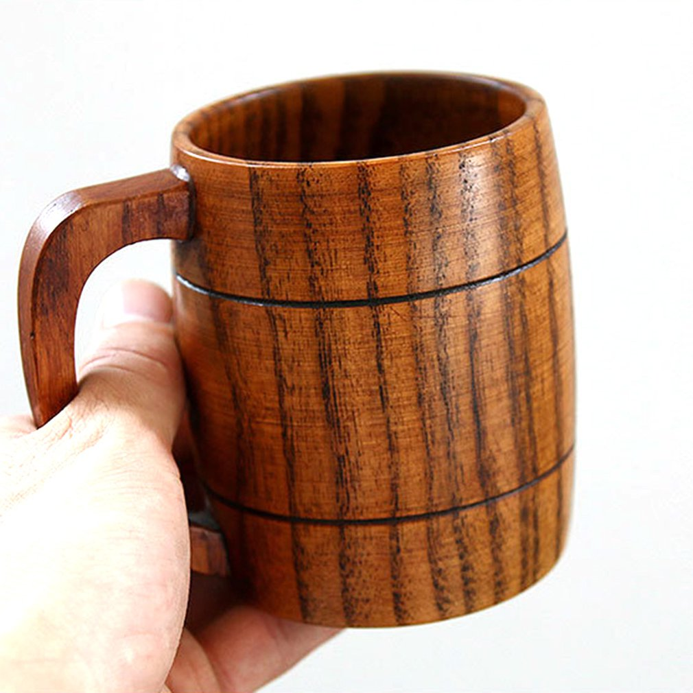 Handmade Solid Coffee Mug Hammered Pure Copper Moscow Mule Mugs with Brass Handle Large Capacity Wooden Cup