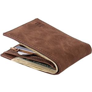 Fashion Scrub Leather Men Wallets Vintage Designer Male Short Wallet Bifold SIM Card Holder Slim Purses For