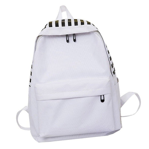 LJL-College Style Casual Couple Backpack Simple Fashion Striped Student Backpack