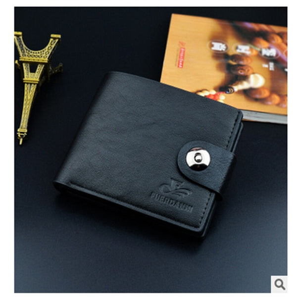 Billetera Hombre Wallet Men Luxury Man Magnetic Buckle Leather Material Polyester Wallets Purse Clutch Short Type Casual
