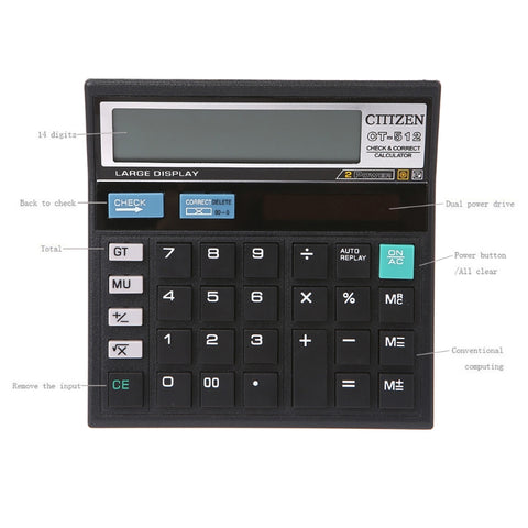 12-Digit Solar Battery Dual Power Large Display Office Desktop Calculator CT-512 K1AA