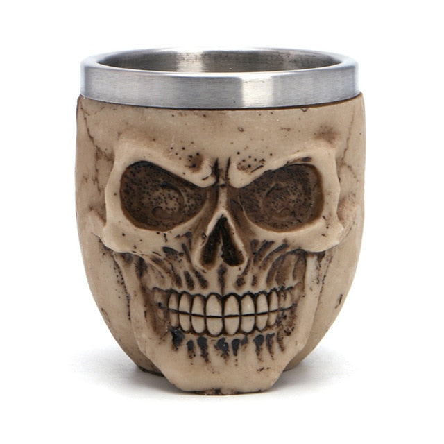 1Pc Stainless Steel Resin Drinking Mug Skeleton Skull Coffee Milk Beer Cup for Halloween Decor Kitchen Drinkware