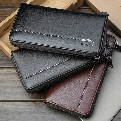 Men's fashion wallet solid color waterproof classic zipper long card package