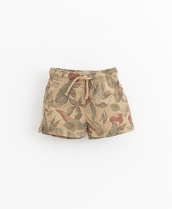Leaf Print Cotton Swim Short